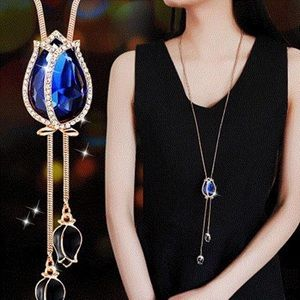 Blue Tulip Crystal Pendant Statement Necklace